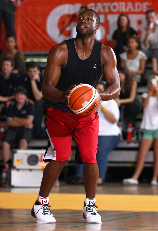sports shoes 512d7 daf28 Dwayne Wade debuts his newly released Jordan Fly Wade 2 s at a recreation  center in Australia.